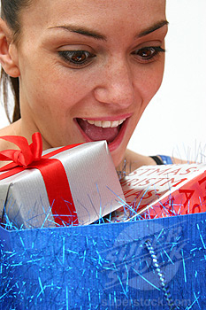 lesbian woman looking at gifts